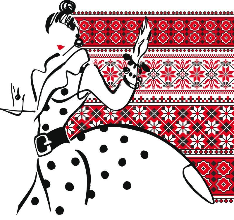 Ilustración de la mujer de la manera. ilustración del vector