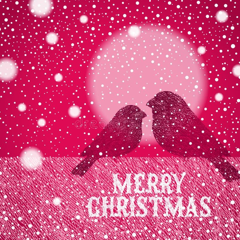 Ilustración de la Navidad con los bullfinches drenados mano stock de ilustración