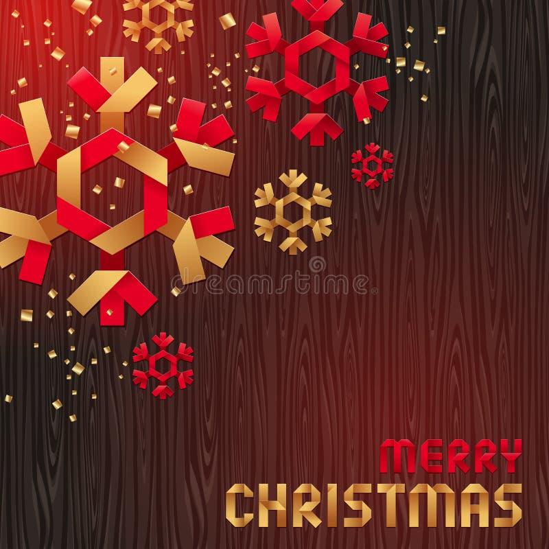 Ilustración de la Navidad con los copos de nieve de papel ilustración del vector