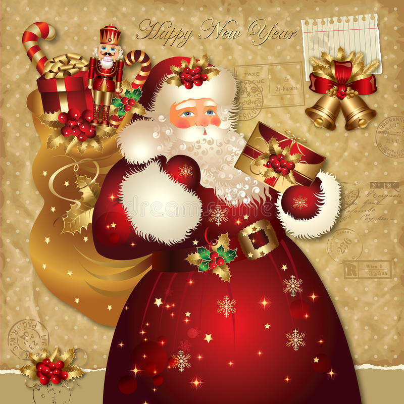 Ilustración de la Navidad con Papá Noel ilustración del vector
