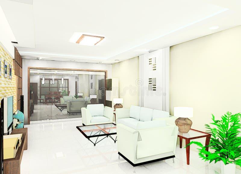 Ilustración de la sala de estar stock de ilustración