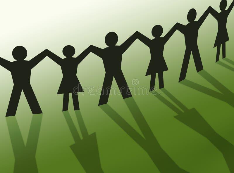 Ilustración de la silueta de la gente del trabajo en equipo, comunidad stock de ilustración