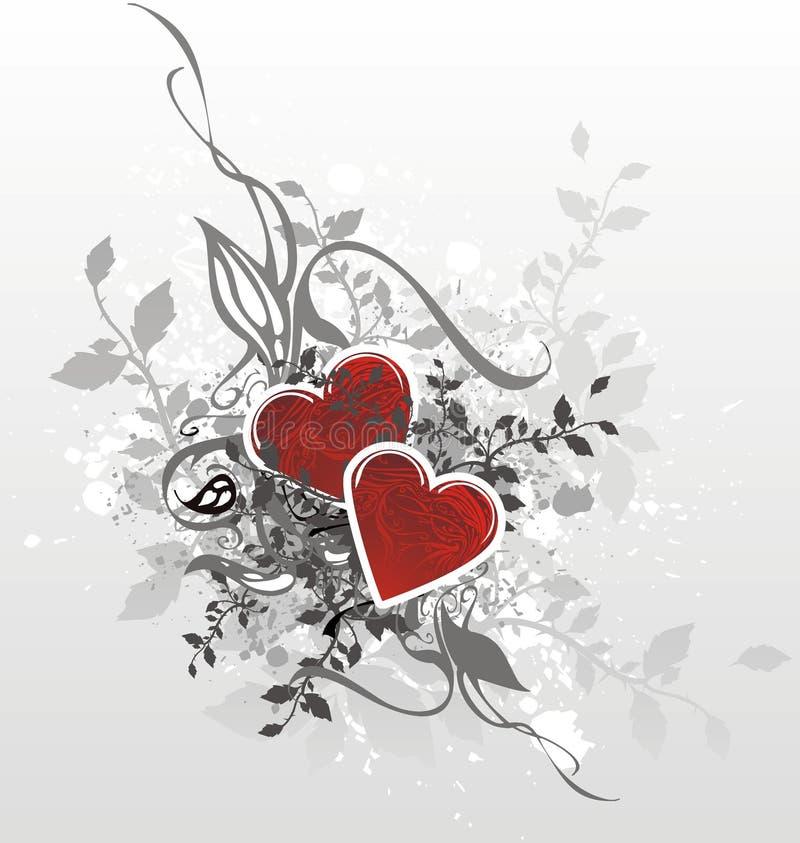 Ilustración de la tarjeta de las tarjetas del día de San Valentín stock de ilustración