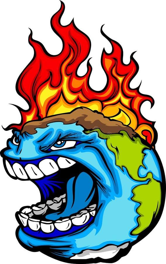 Ilustración de la tierra del planeta del calentamiento del planeta ilustración del vector