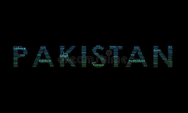 Ilustración de la tipografía de Paquistán imagenes de archivo