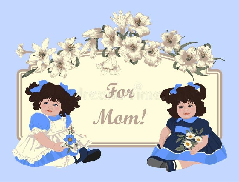 Ilustración de la vendimia Ilustración del vector Muchacha, flores Tarjeta clásica Lirios blancos stock de ilustración