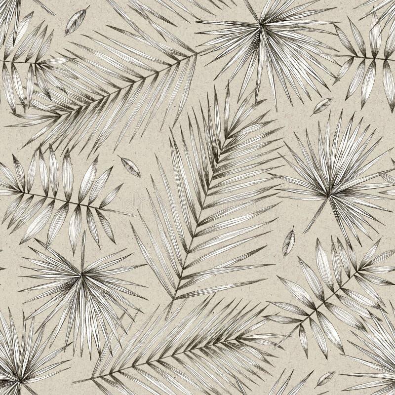 Ilustración de la vendimia Modelo inconsútil con las hojas de palma Dibujo de lápiz simple Gráficos manuales Diseño para empaquet libre illustration
