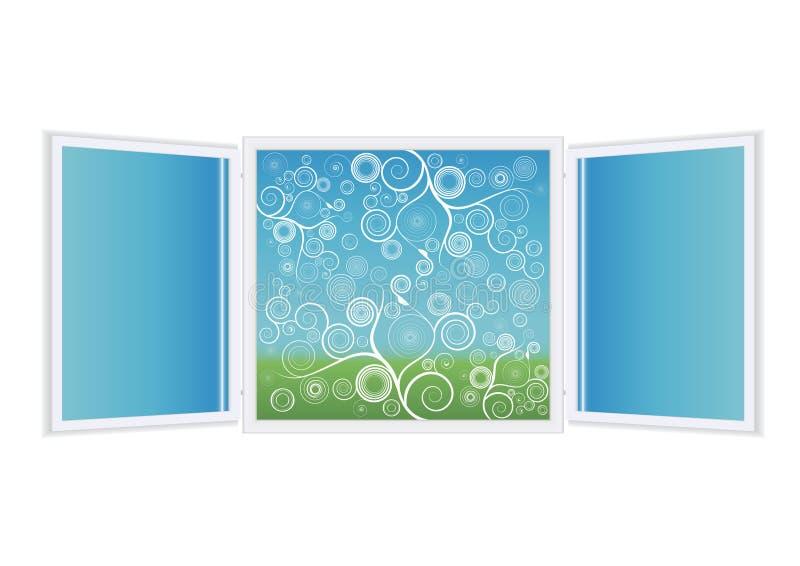 Ilustración de la ventana abierta con florals ilustración del vector