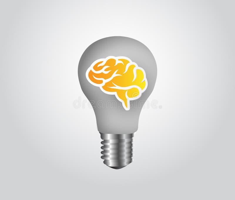 Ilustración de Lamp símbolo de la idea creativa con la lámpara y el cerebro stock de ilustración