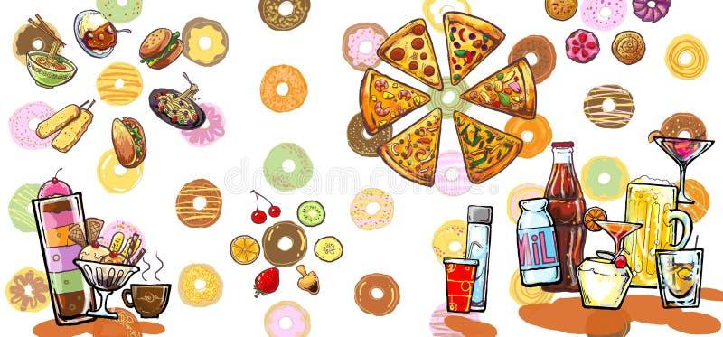 Ilustración de las bebidas y de los alimentos del desierto libre illustration