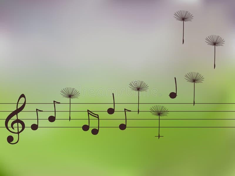 Ilustración de las notas de la música con el diente de león stock de ilustración