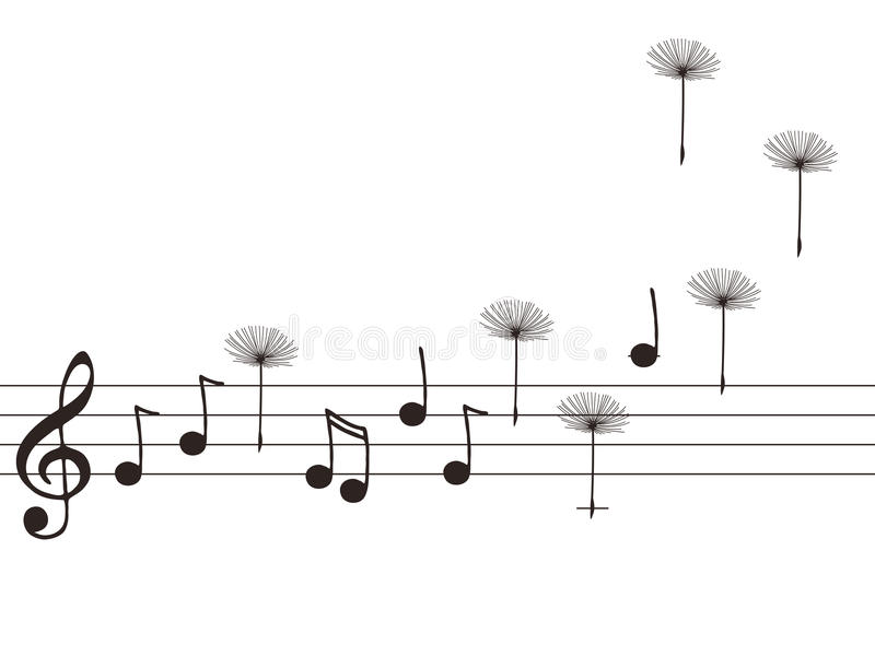 Ilustración de las notas de la música con el diente de león ilustración del vector