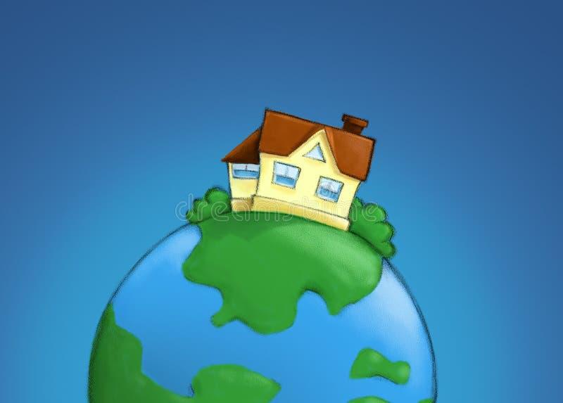 Ilustración de las propiedades inmobiliarias - casa en el planeta libre illustration