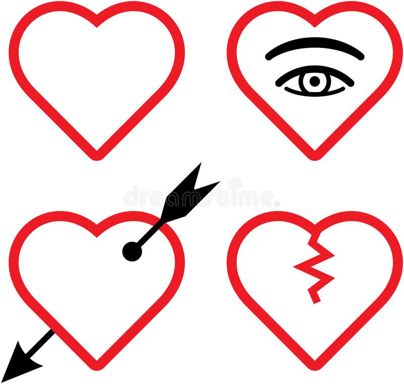 Ilustración de las tarjetas del día de San Valentín del vector y de los corazones quebrados libre illustration