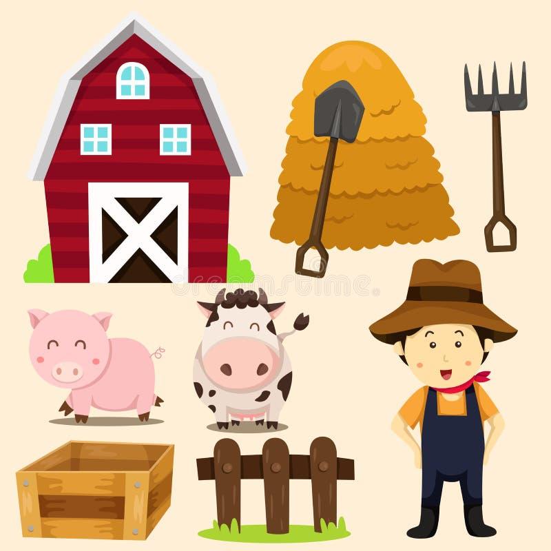 Ilustración de los animales del campo y de los items relacionados stock de ilustración