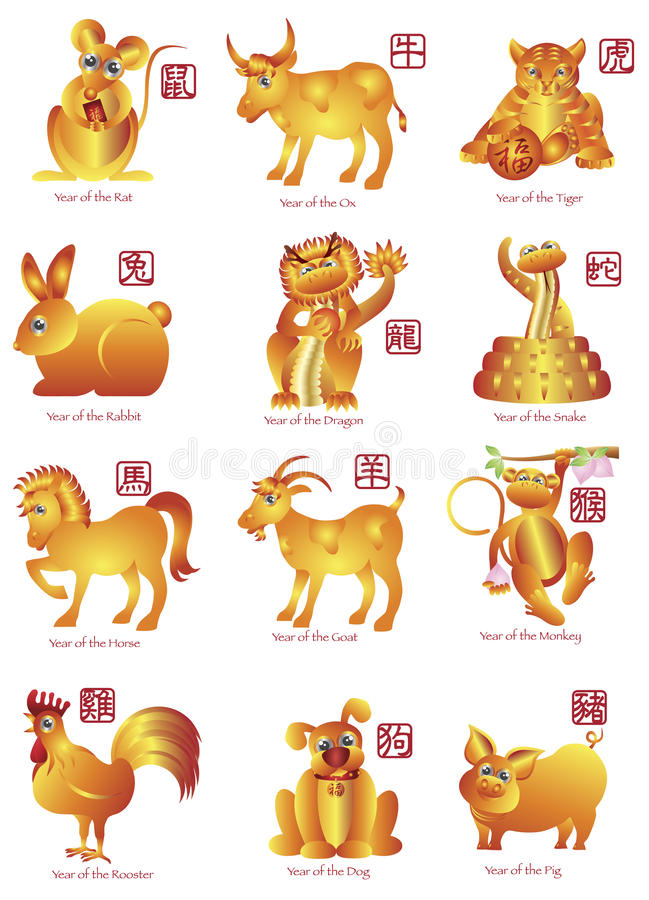 Ilustración de los animales del zodiaco del chino doce libre illustration