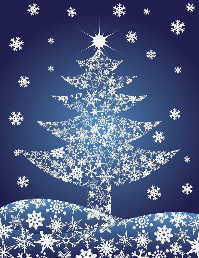 Ilustración de los copos de nieve de la silueta del árbol de navidad ilustración del vector
