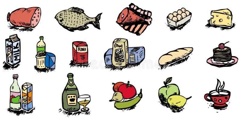 Ilustración de los iconos del alimento ilustración del vector