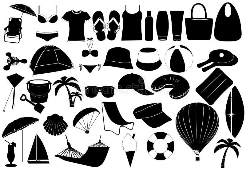 Ilustración de los objetos de las vacaciones de verano ilustración del vector