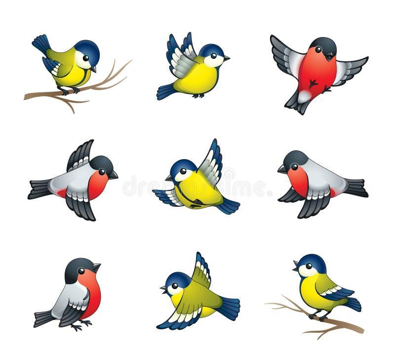 Ilustración de los pájaros del invierno stock de ilustración