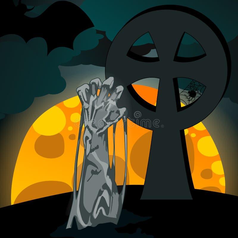 Ilustración de los undead que se levantan del sepulcro stock de ilustración