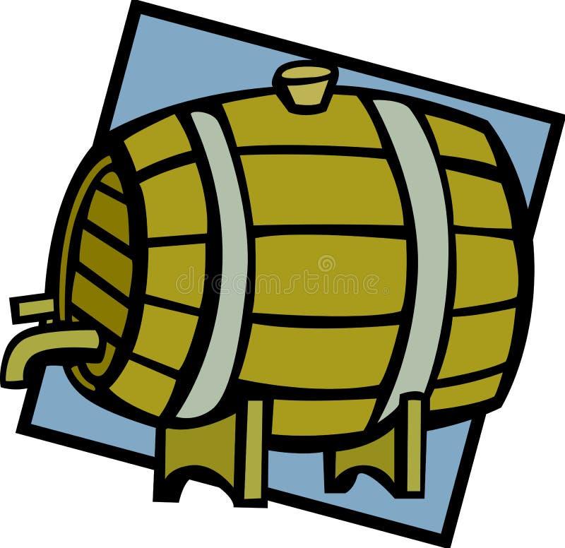 Ilustración de madera del vector del barrilete del barril del vino o de la cerveza libre illustration