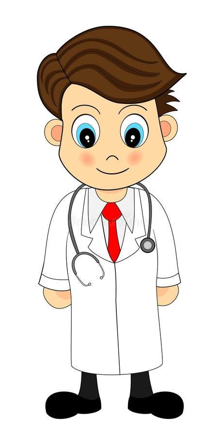 Ilustración de mirada linda de la historieta de un doctor imagen de archivo