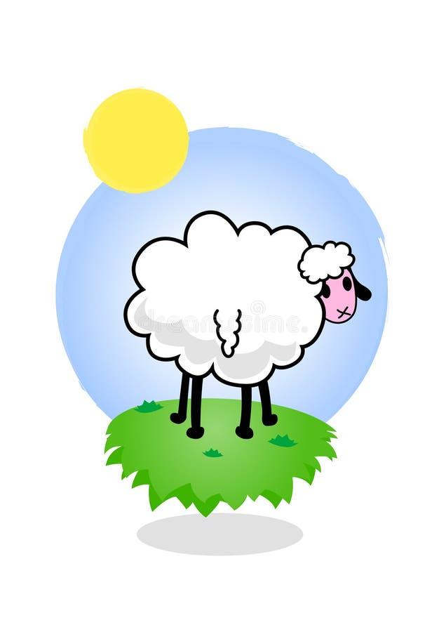 Ilustración de ovejas cobardes. stock de ilustración