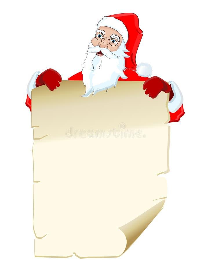 Ilustración de Papá Noel que celebra la lista en blanco stock de ilustración
