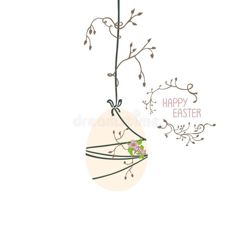 Ilustración de Pascua El huevo se suspende y se envuelve con los hilos finos En los hilos crezca las ramitas y las hojas ilustración del vector