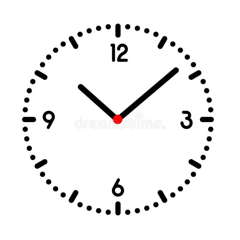 Ilustración de reloj o reloj de pulsera con dial negro, números y centro rojo Aislado en fondo blanco, vector stock de ilustración