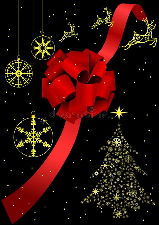 Ilustración de un arqueamiento rojo y de un árbol de navidad ilustración del vector