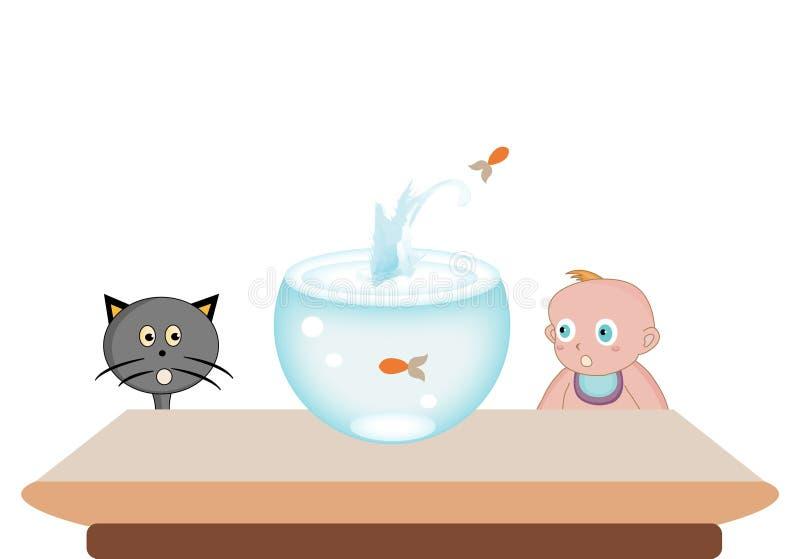 Ilustración de un muchacho con sus animales domésticos stock de ilustración