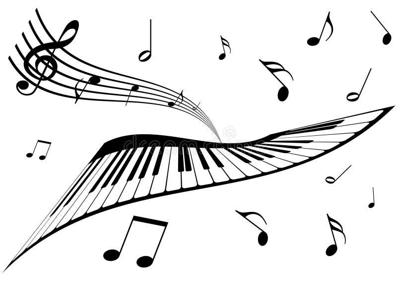 Ilustración de un piano, de un bastón y de las notas de la música ilustración del vector
