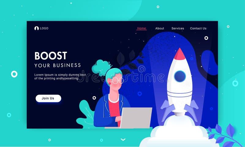 Ilustración de una mujer trabajando desde una laptop con éxito lanzando un proyecto de cohete para el concepto de Boost Your Busi ilustración del vector
