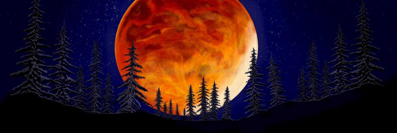 Ilustración de una noche en el bosque, una enorme luna roja encima de los árboles, una vista mística de la luna Fondo de pantalla foto de archivo
