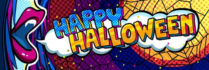 Ilustración de Víspera de Todos los Santos Abra la boca azul con los colmillos y el mensaje del feliz Halloween en estilo del art ilustración del vector