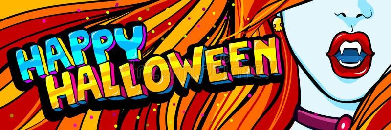 Ilustración de Víspera de Todos los Santos Abra la boca roja con los colmillos y el mensaje del feliz Halloween en estilo del art libre illustration
