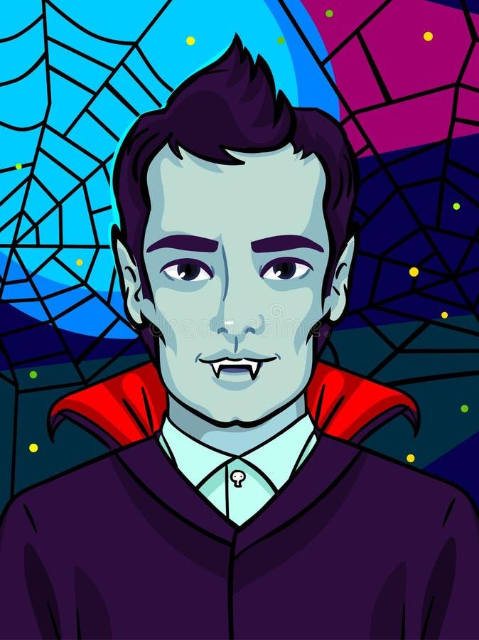 Ilustración de Víspera de Todos los Santos Vampiro con los colmillos y el pelo negro libre illustration