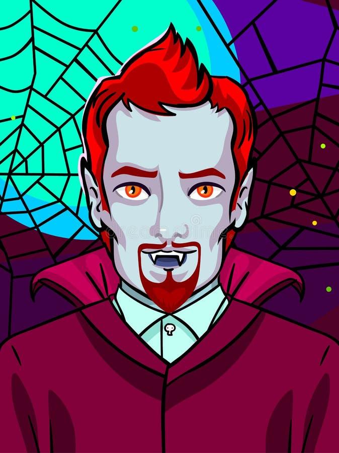 Ilustración de Víspera de Todos los Santos Vampiro con los colmillos y pelo y barba rojos libre illustration