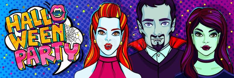 Ilustración de Víspera de Todos los Santos Vampiros y bruja Ilustración del vector ilustración del vector