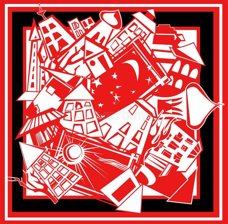 Ilustración decorativa de la ciudad, muestra, forma cuadrada ilustración del vector