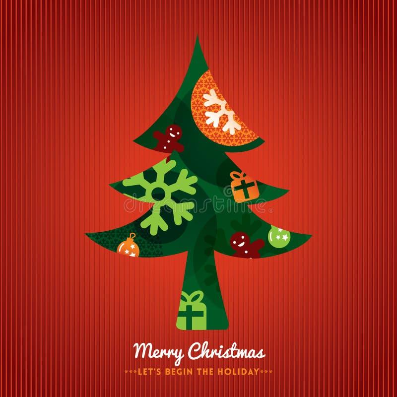 Ilustración del árbol de navidad en fondo rojo ilustración del vector