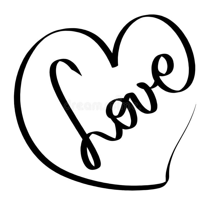 Ilustración del amor del vector Muestra romántica Tarjeta negra del corazón icono del amor Mano redonda sucia enredada del garaba stock de ilustración