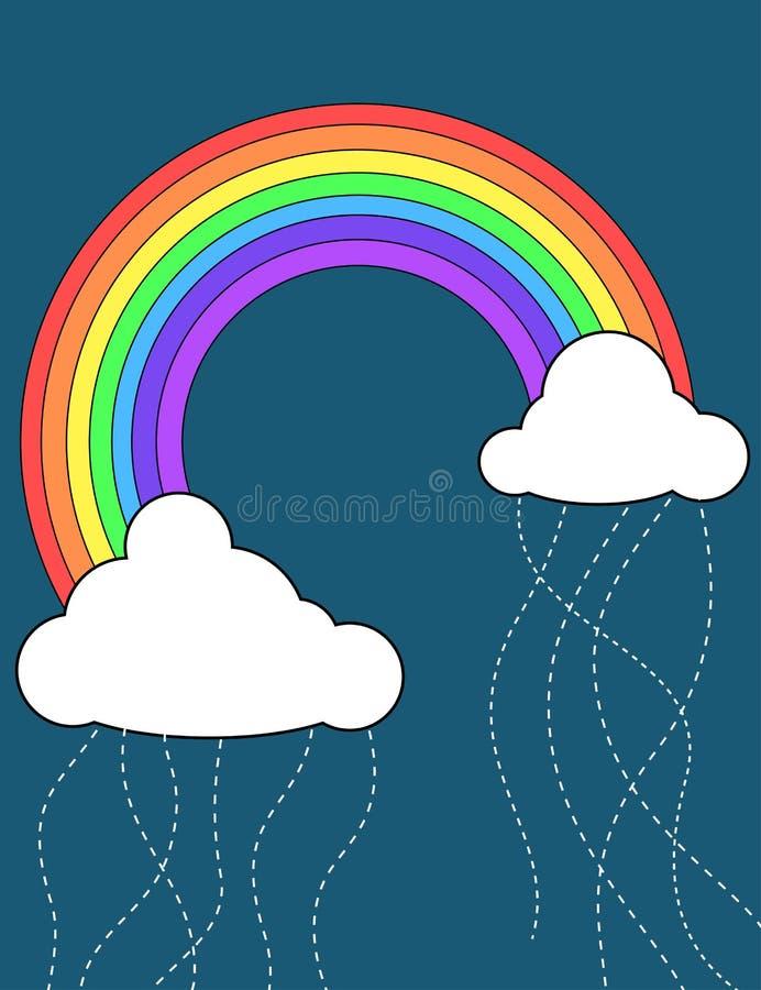 Ilustración del arco iris y de las nubes stock de ilustración