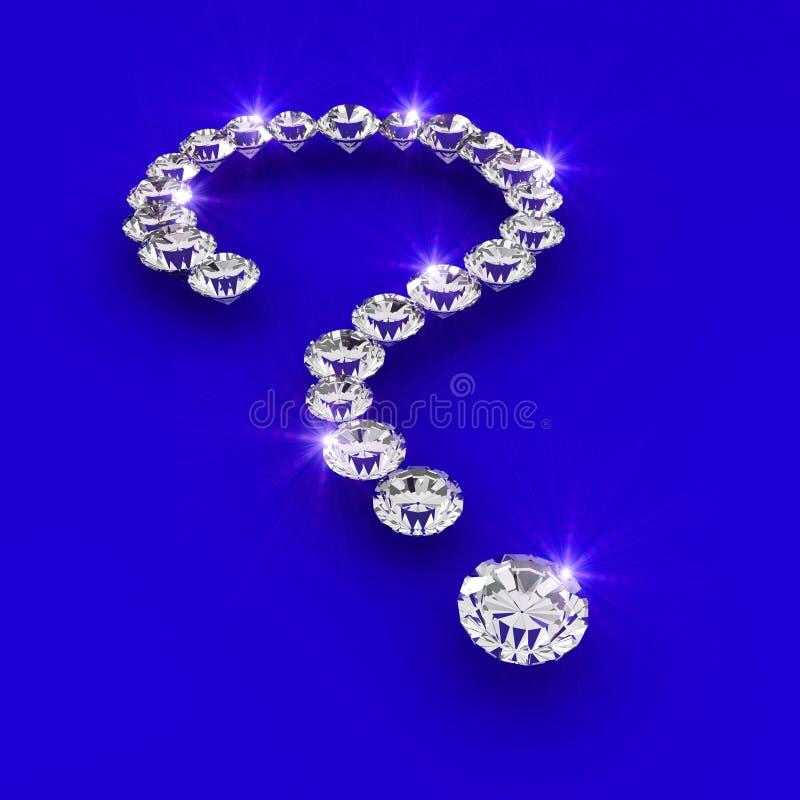 Ilustración del arte del diamante de la dimensión de una variable 3d del signo de interrogación stock de ilustración