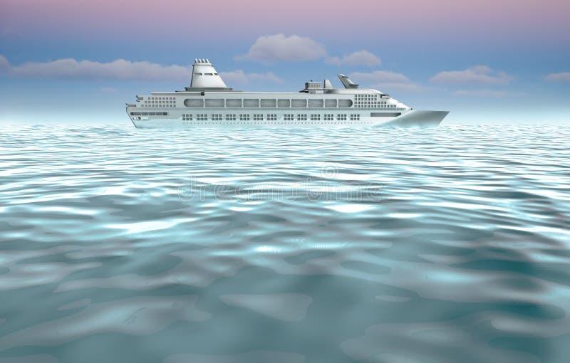 Ilustración del barco de cruceros en el mar stock de ilustración