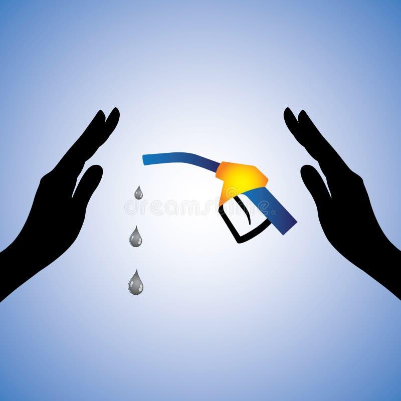 Ilustración del concepto del ahorro/del petróleo conservador (gas) stock de ilustración
