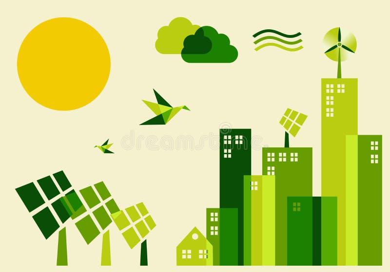 Ilustración del concepto del desarrollo sostenible de la ciudad stock de ilustración