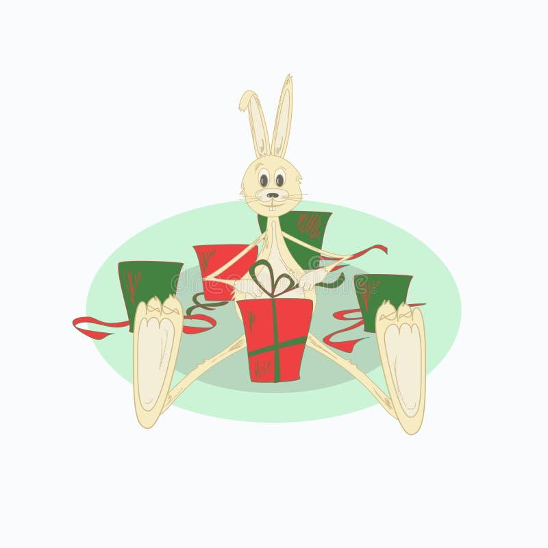 Ilustración del conejo de la Navidad ilustración del vector